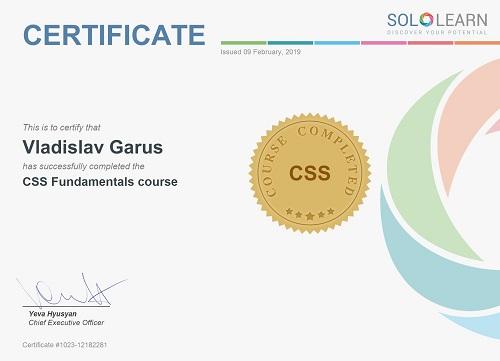 Сертификат sololearn